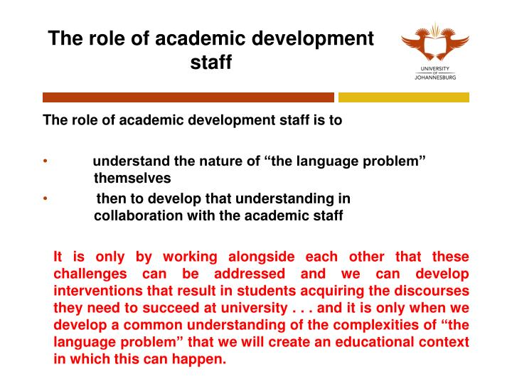 The role of academic development staff