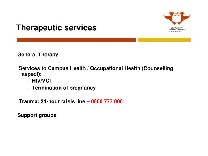 Therapeutic services