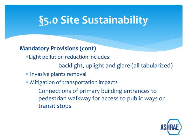 §5.0 Site Sustainability