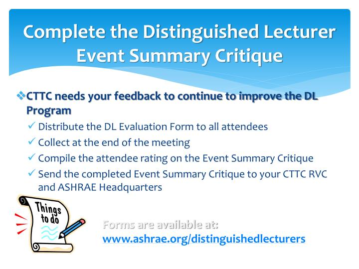 Complete the Distinguished Lecturer