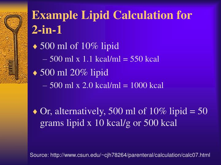 Example Lipid Calculation for