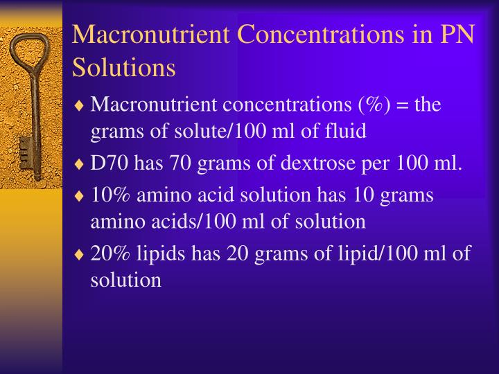 Macronutrient concentrations in pn solutions