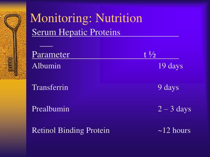 Monitoring: Nutrition