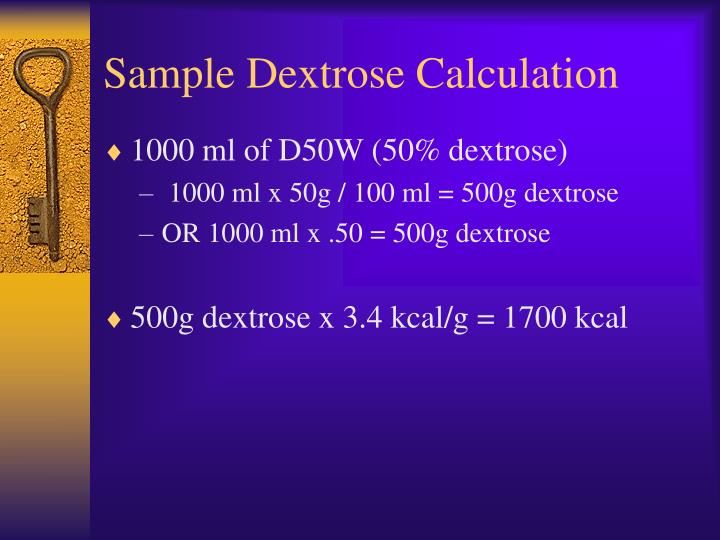 Sample Dextrose Calculation