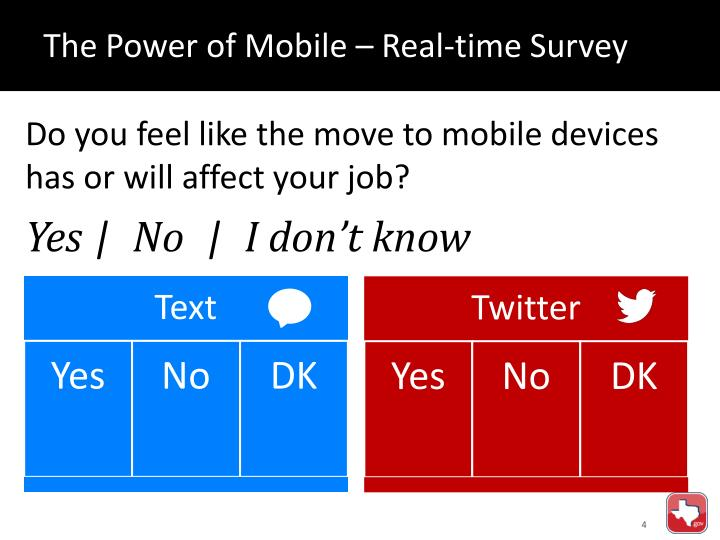 The Power of Mobile – Real-time Survey