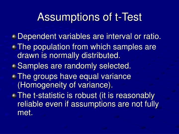 Assumptions of t-Test