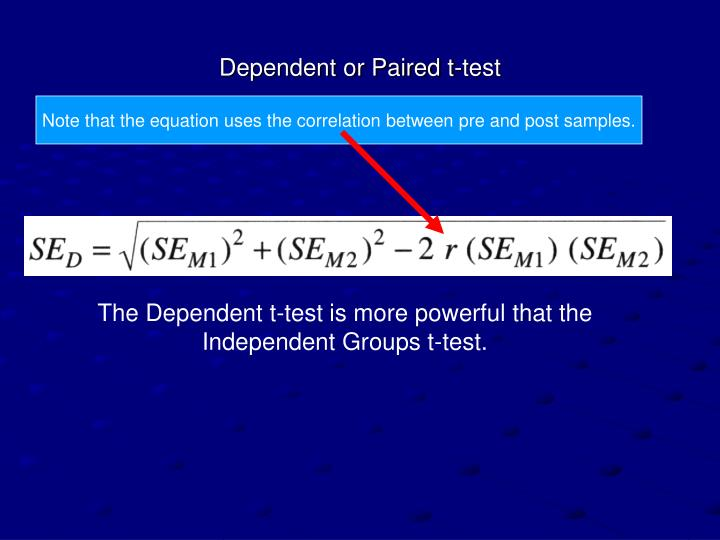 Dependent or Paired t-test