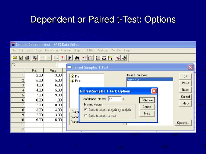 Dependent or Paired t-Test: Options
