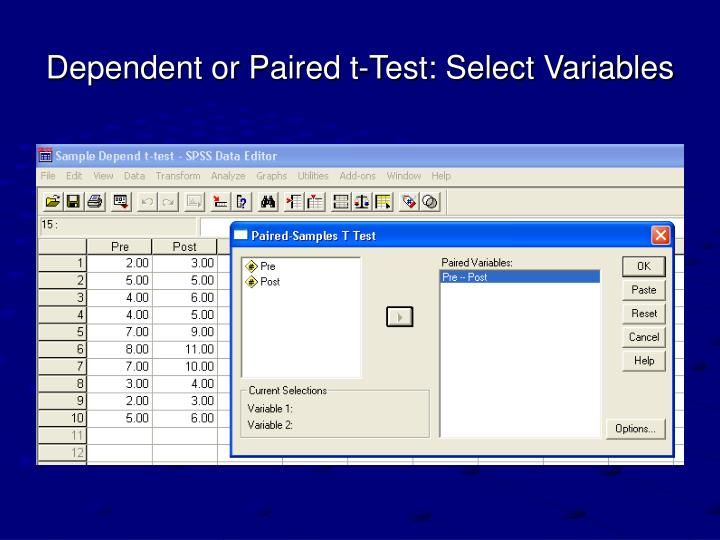 Dependent or Paired t-Test: Select Variables