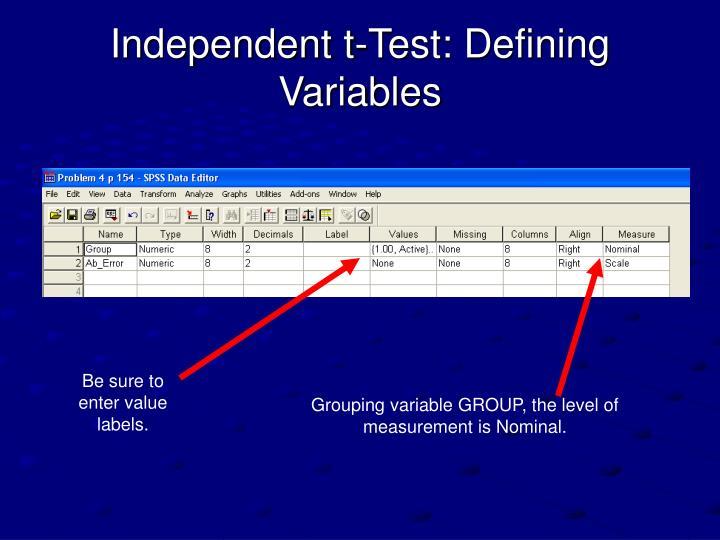 Independent t-Test: Defining Variables