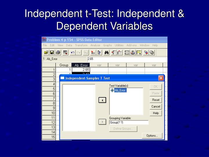Independent t-Test: Independent & Dependent Variables