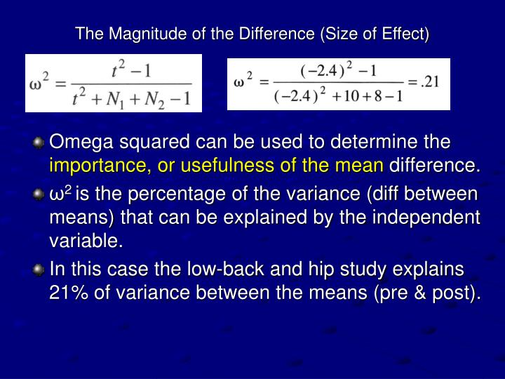 The Magnitude of the Difference (Size of Effect)