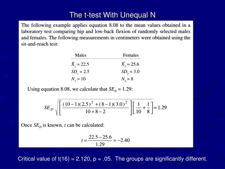 The t-test With Unequal N
