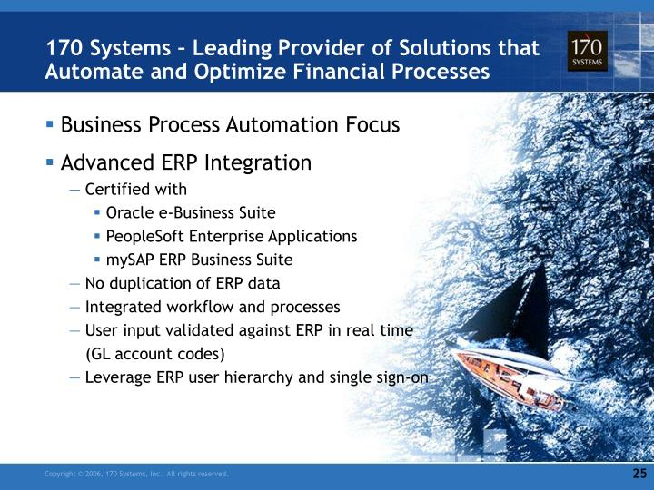 170 Systems – Leading Provider of Solutions that Automate and Optimize Financial Processes