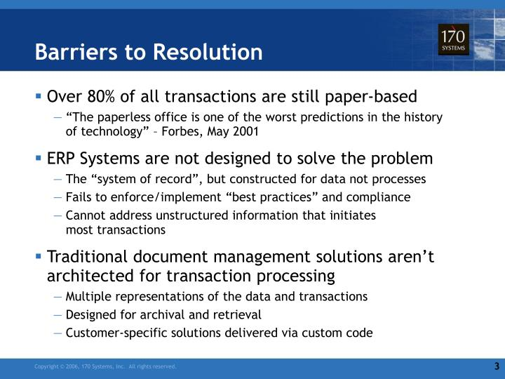 Barriers to Resolution