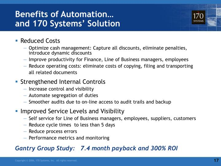Benefits of Automation…