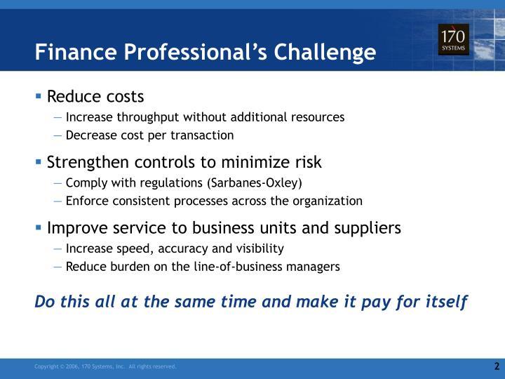 Finance Professional's Challenge
