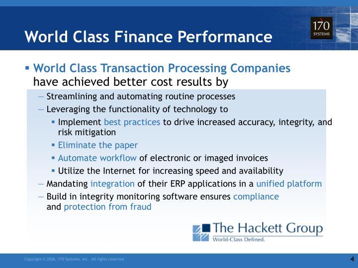 World Class Finance Performance