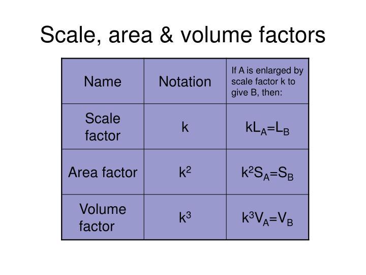 Scale, area & volume factors