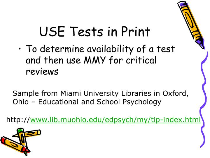 USE Tests in Print