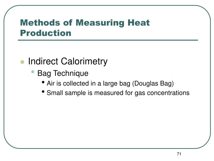 Methods of Measuring Heat Production