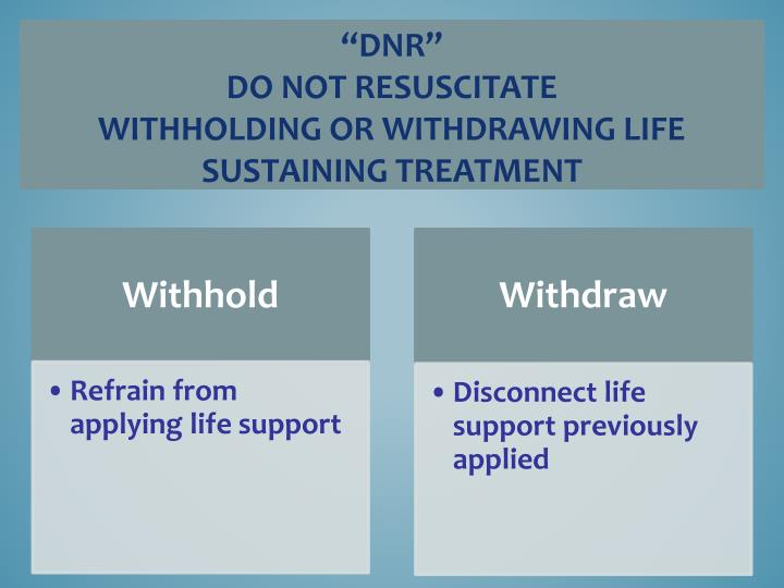 Dnr do not resuscitate withholding or withdrawing life sustaining treatment