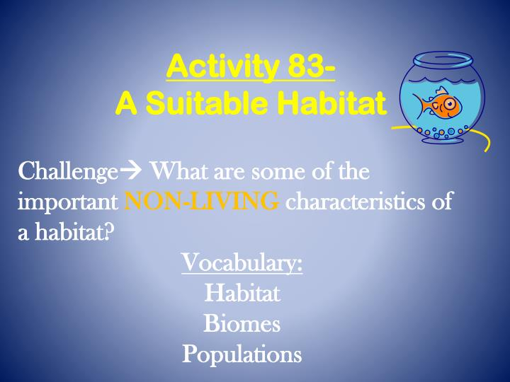 Activity 83 a suitable habitat