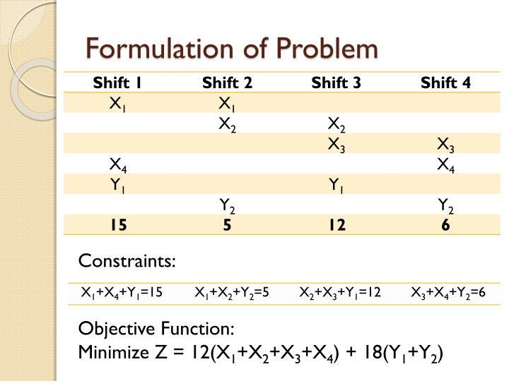 Formulation of Problem