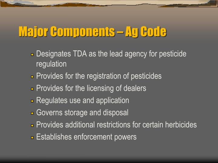 Major Components – Ag Code