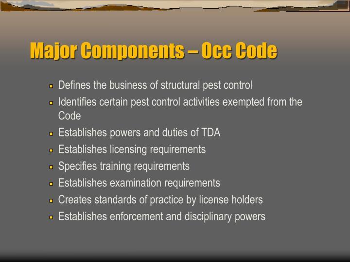 Major Components – Occ Code