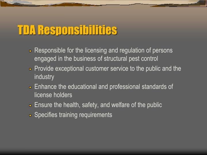TDA Responsibilities