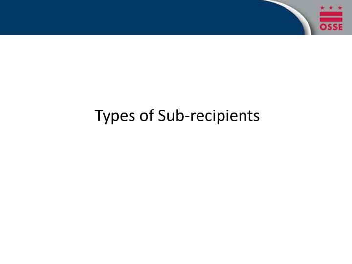 Types of Sub-recipients
