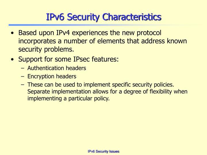 IPv6 Security Characteristics