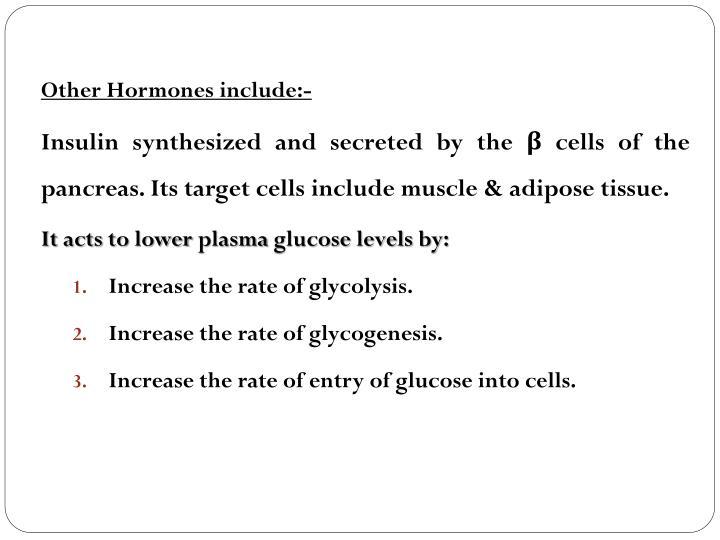 Other Hormones include:-