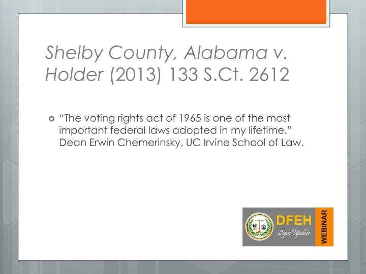 Shelby County, Alabama v. Holder