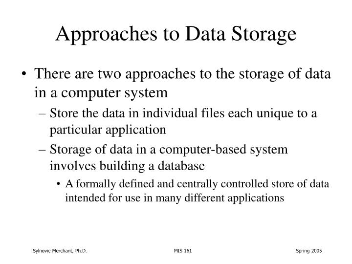 Approaches to Data Storage