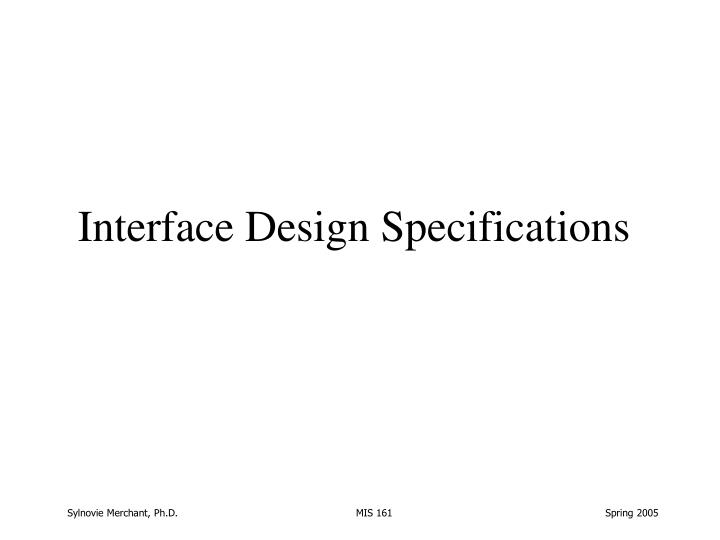 Interface Design Specifications