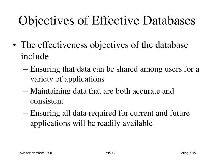 Objectives of Effective Databases