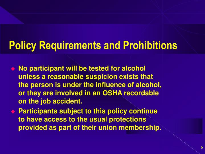 Policy Requirements and Prohibitions