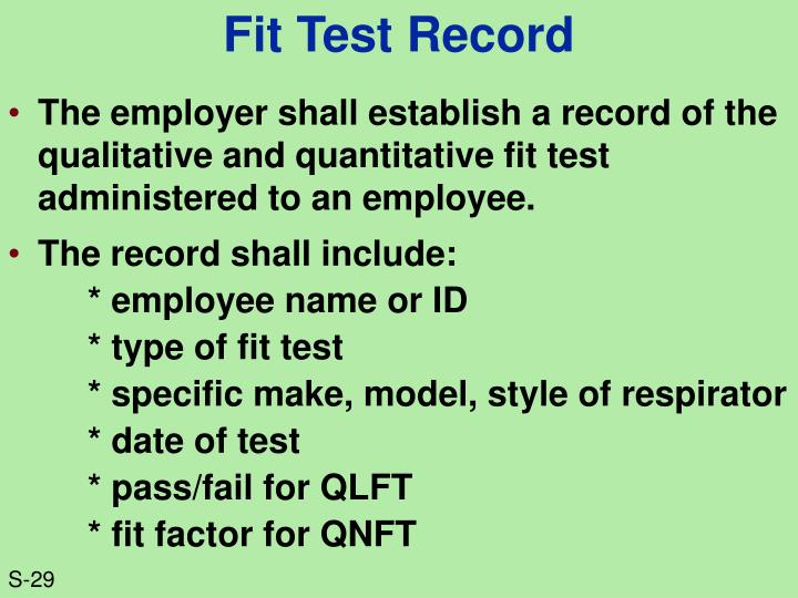 Fit Test Record