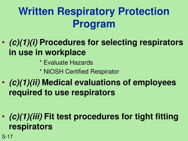 Written Respiratory Protection Program