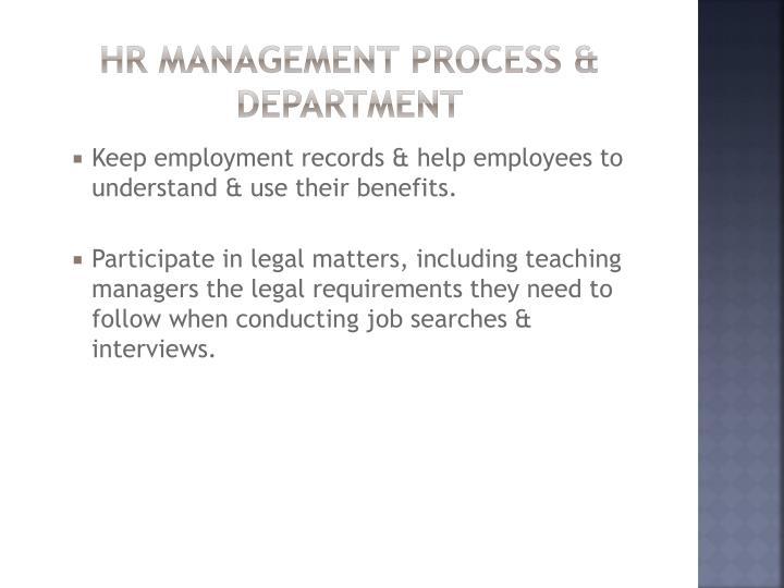 Hr management process & department