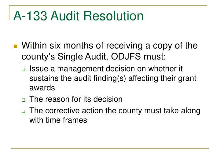 A-133 Audit Resolution