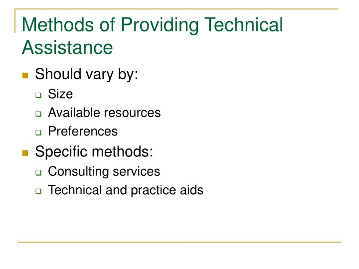 Methods of Providing Technical Assistance