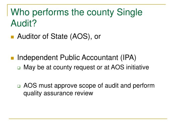 Who performs the county Single Audit?
