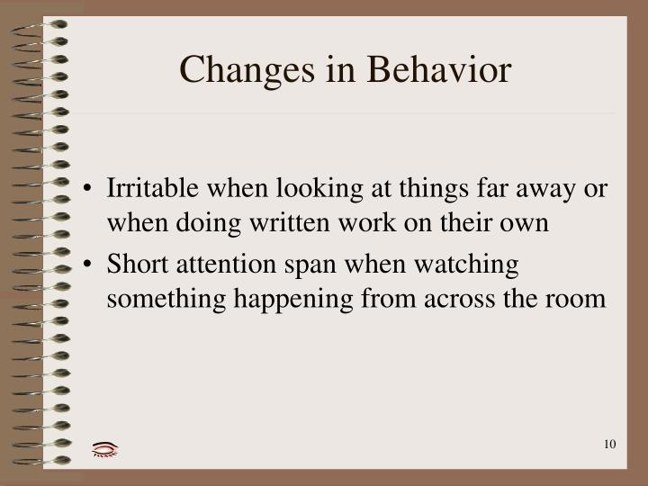 Changes in Behavior