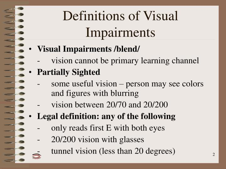 Definitions of Visual Impairments