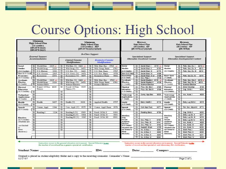 Course Options: High School