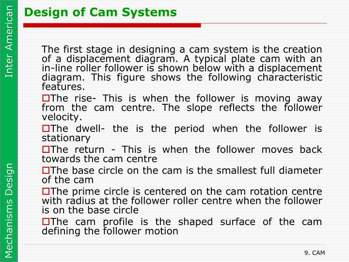 Design of Cam Systems