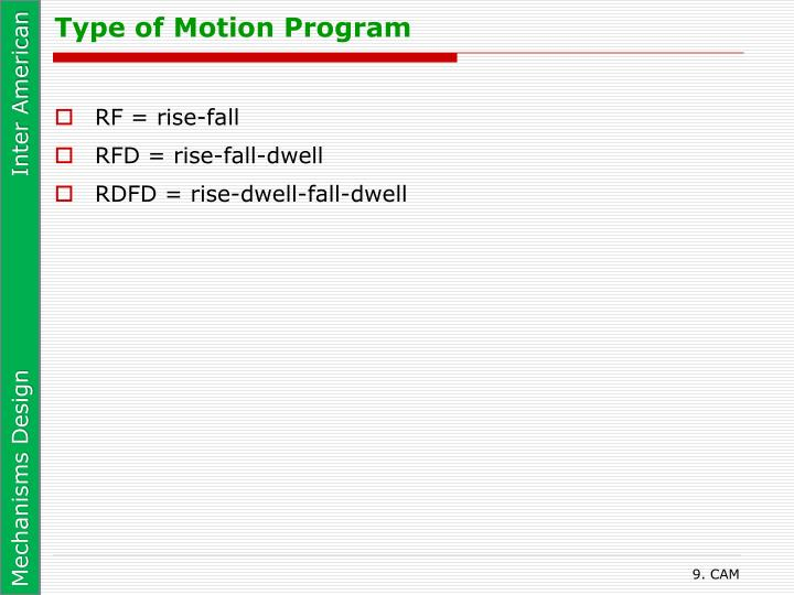 Type of Motion Program